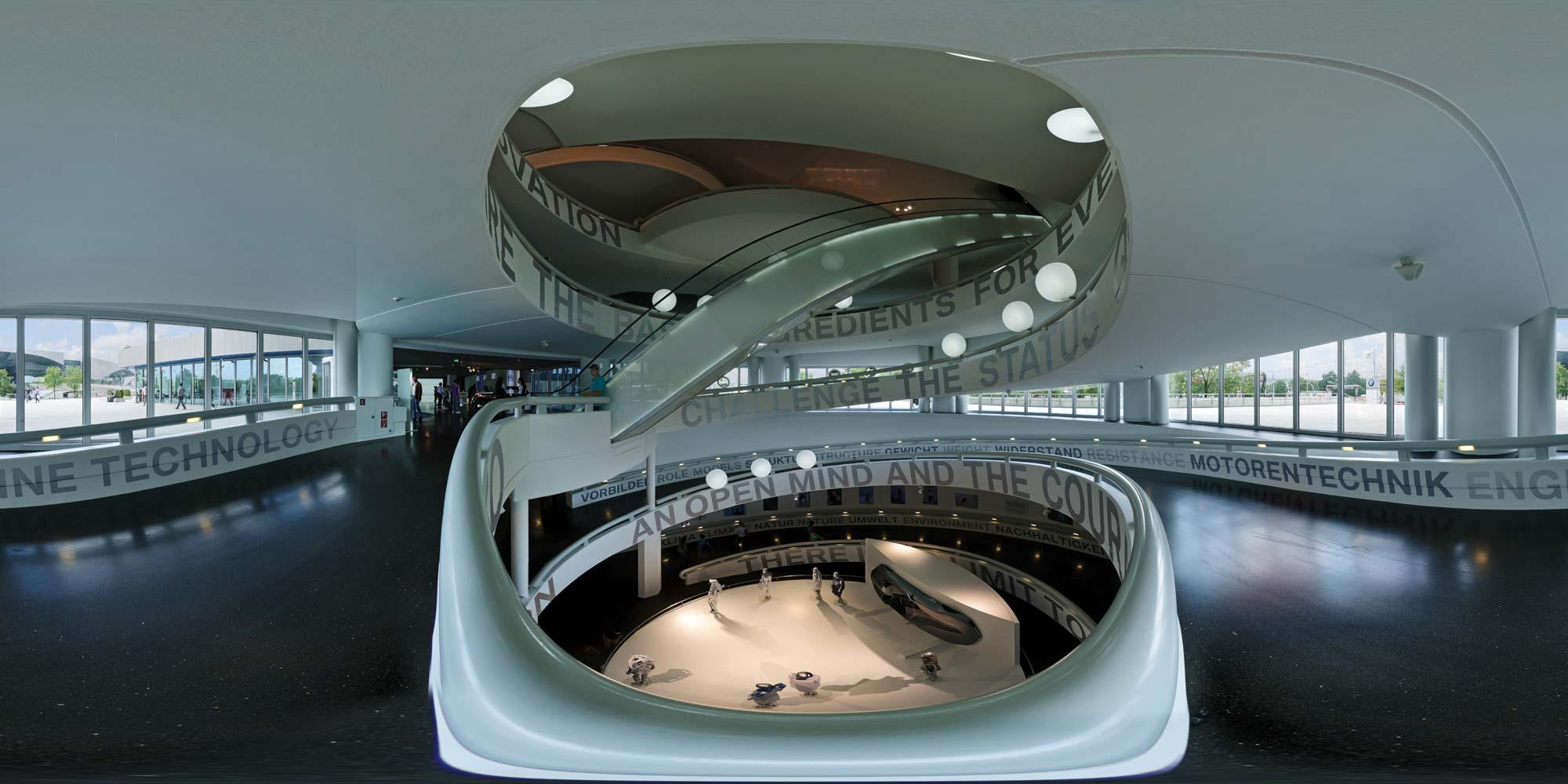kubische panoramen panorama foto m nchen bmw gel nde bmw museum innen. Black Bedroom Furniture Sets. Home Design Ideas
