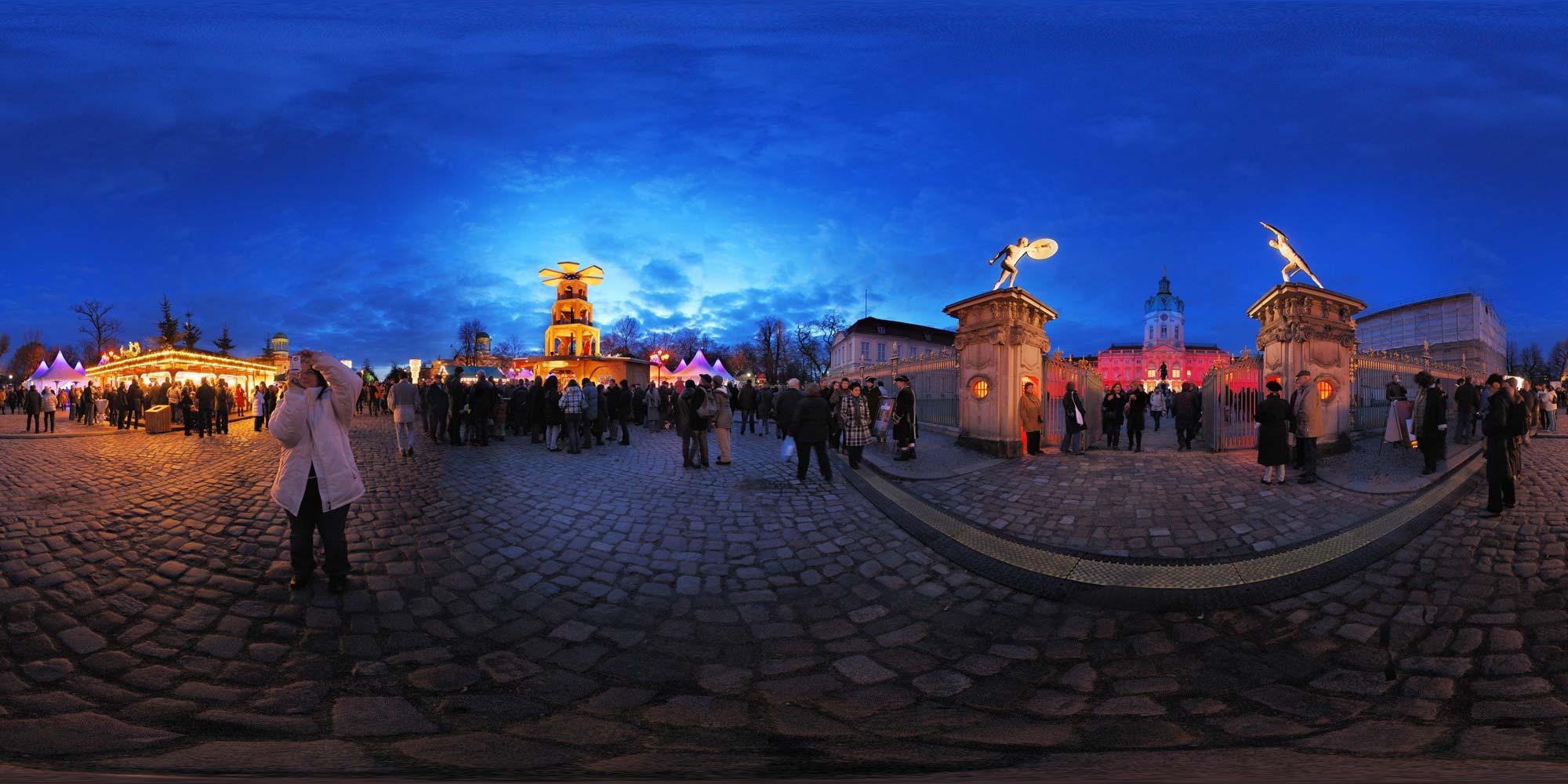 Weihnachtsmarkt Schloss Charlottenburg.Kubische Panoramen Panorama Foto Schloss Charlottenburg