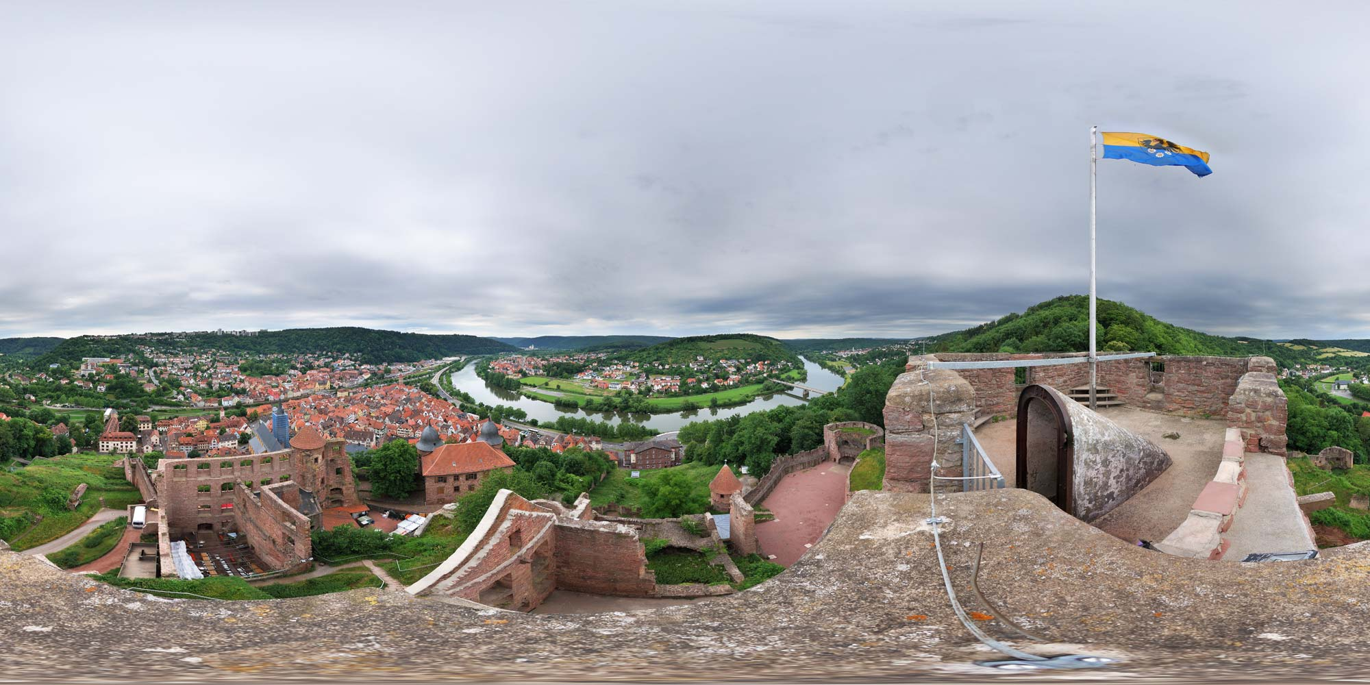 Panorama  Wertheim - Burg Wertheim - Burgfried
